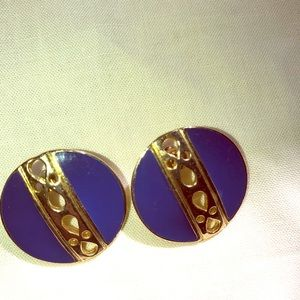 Vintage pair pierced earrings blue enamel goldtone
